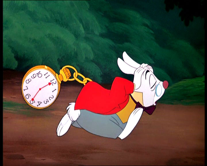 alice in wonderland rabbit timing late