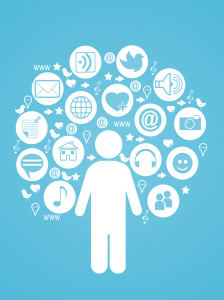 simage of a person surrounded by social icons