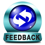 feedback or testimonials blue icon or button. Publical comments