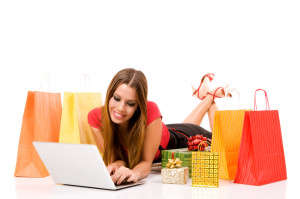 young woman shopping on the internet