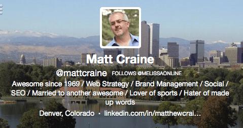 Matt Craine Twitter