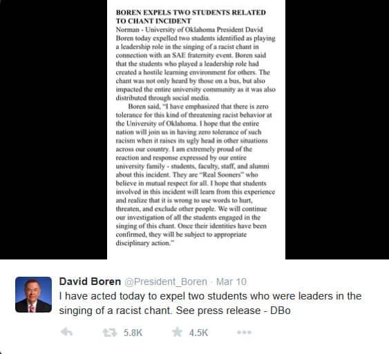 President Boren response