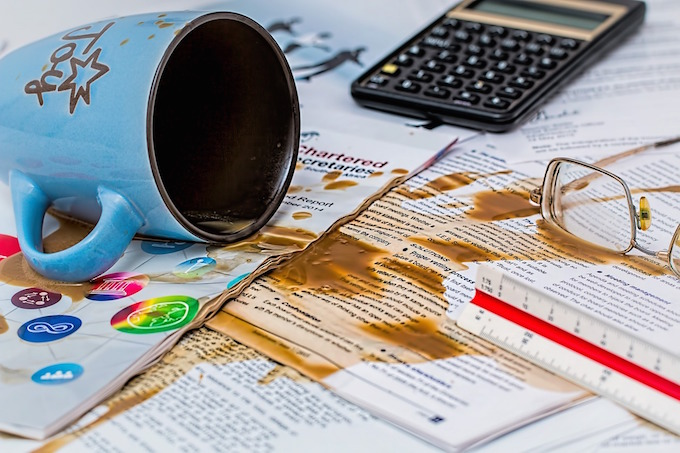 Coffee spilled on desk
