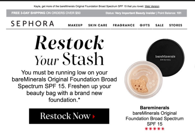 Sephora predicts the amount of