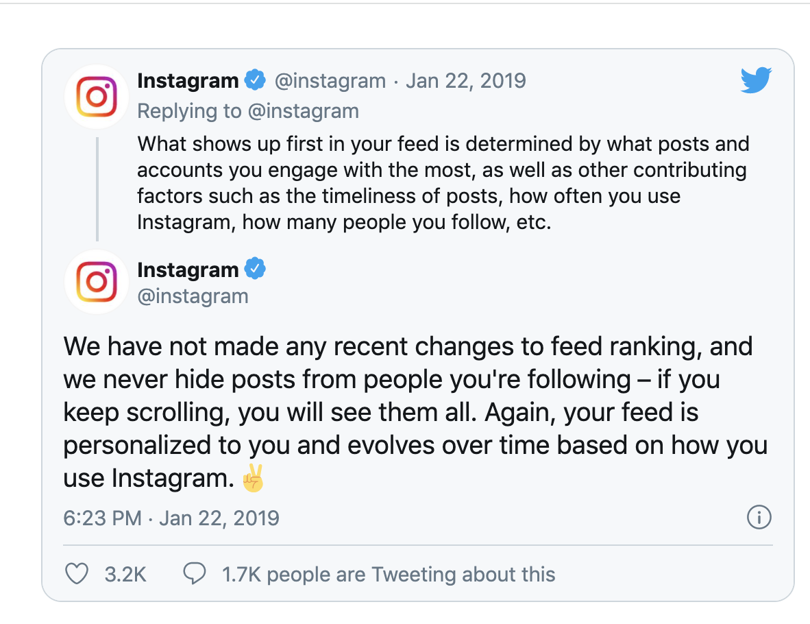Instagram tweet about engagement on the platform